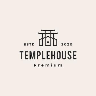 Illustrazione dell'icona di logo vintage della casa del tempio