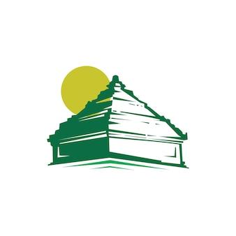 Logo del tempio con silhouette e sole. concetto di logo tradizionale