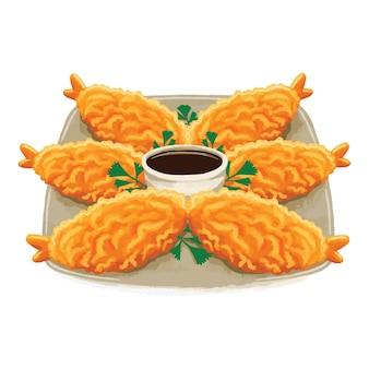 Cibo giapponese tempura in stile design piatto