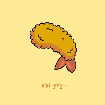 Gamberetti tempura o ebi fry simbolo cibo delizioso vector illustration