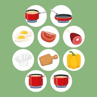 Set di dieci elementi di cottura per alimenti