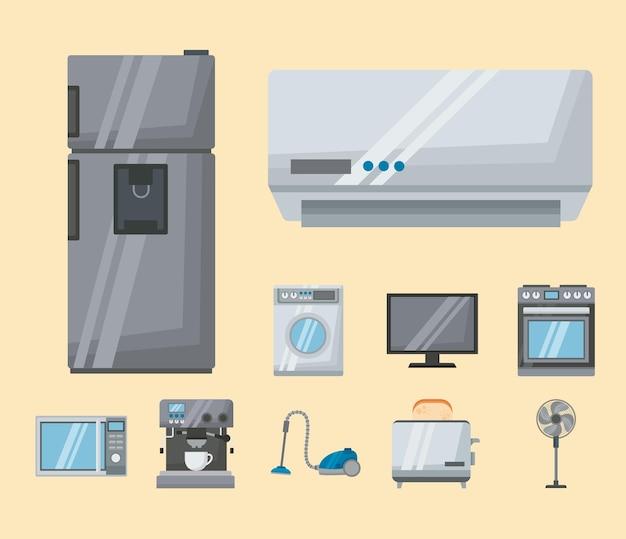 Dieci elettrodomestici impostati icone