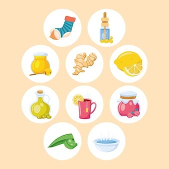 Dieci rimedi casalinghi set di icone