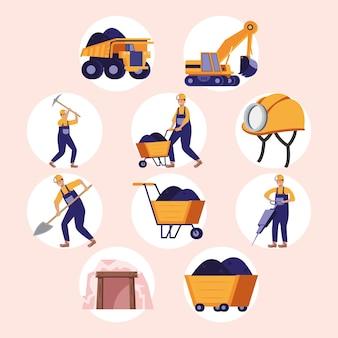 Set di dieci elementi dell'industria mineraria
