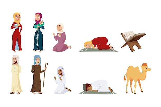 Dieci set di cultura musulmana Vettore Premium