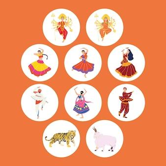 Dieci icone cerimonia navratri