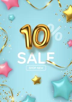 Dieci sconti di vendita di promozione fatta di palloncini d'oro realistici con stelle