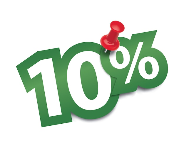 Il dieci per cento fissato da una puntina da disegno