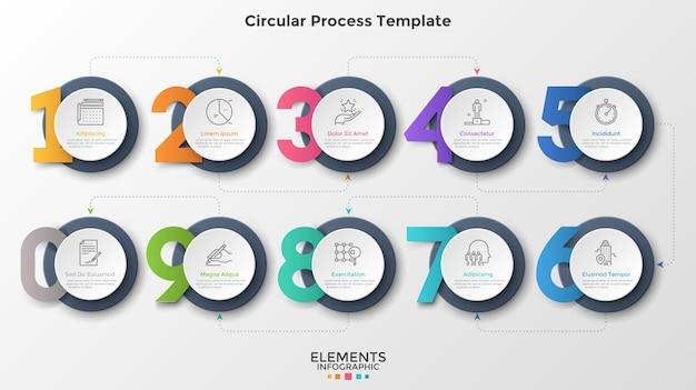 Dieci elementi rotondi di carta bianca collegati da linee tratteggiate e frecce. concetto di 10 fasi successive del processo aziendale. modello di progettazione infografica moderna. illustrazione di vettore per la presentazione.
