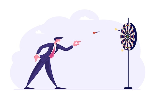 Tenacia nella strategia aziendale, concetto di definizione degli obiettivi. uomo d'affari che lancia freccette al centro di destinazione