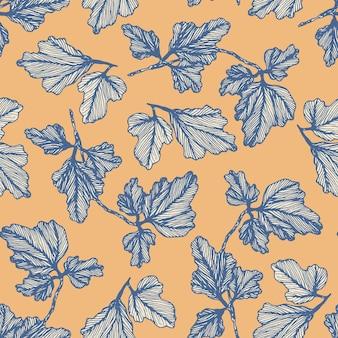 Tenero motivo floreale blu e arancione senza cuciture con foglie di colombina disegnate a mano