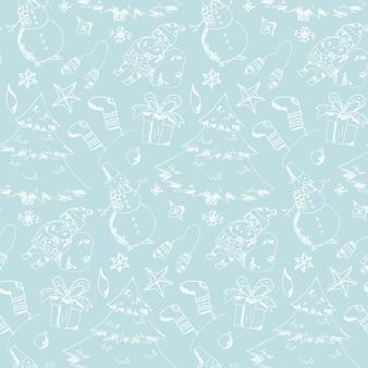 Modello senza cuciture blu tenero di elemento natalizio disegnato a mano carino con abeti, pupazzo di neve, confezione regalo, babbo natale