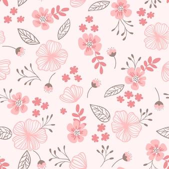 Tenero motivo ditsy senza soluzione di continuità nei colori rosa fiori carini foglie piccoli rami