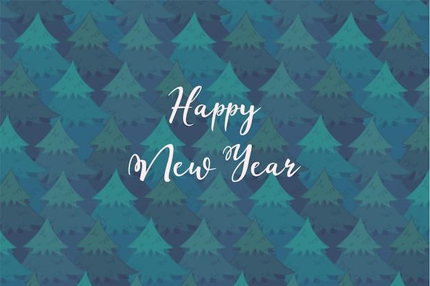 Fondo orizzontale tenero con alberi di conifere sovrapposti blu e testo bianco felice anno nuovo.