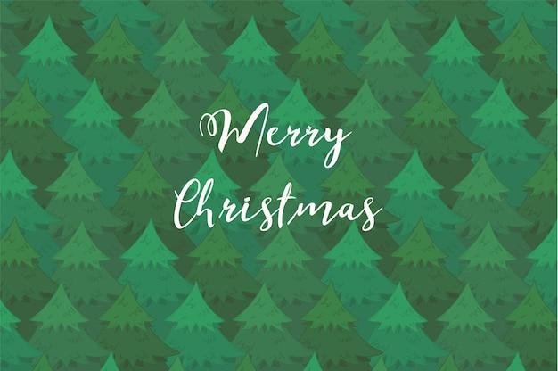 Fondo orizzontale tenero con alberi di conifere sovrapposti verdi e testo bianco di buon natale.