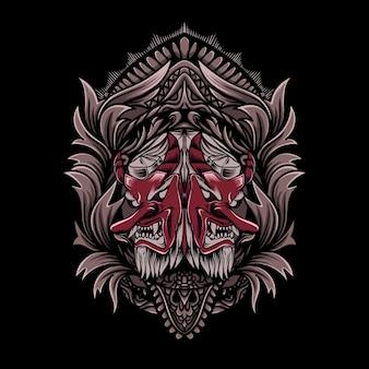Illustrazione tengu con stile ornamento