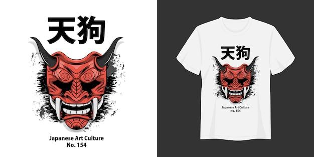 Tshirt e abbigliamento tengu design alla moda tipografia stampa illustrazione vettoriale
