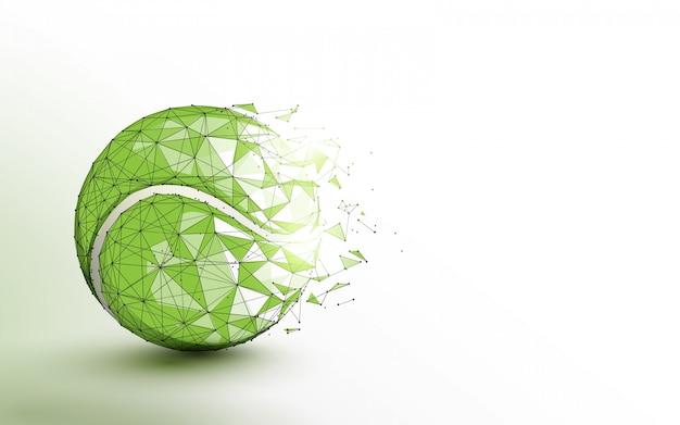 Linee di forma della palla da tennis, triangoli e stile delle particelle. illustrazione