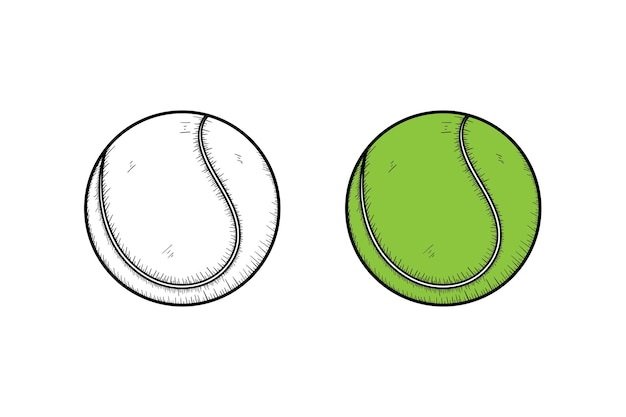 Schizzo e colore dell'illustrazione disegnata a mano della pallina da tennis