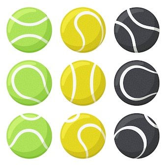 Palline da tennis. sport, attrezzature per il fitness, palline da tennis nere, gialle e verdi in varie angolazioni impostate