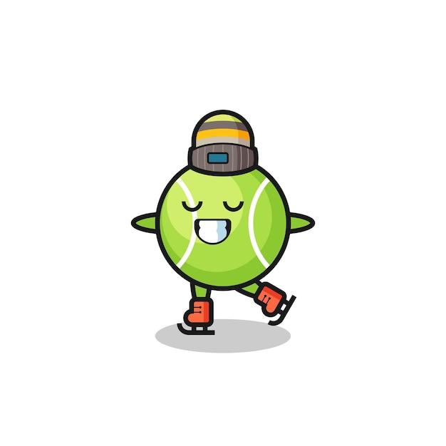 Cartone animato di tennis come un giocatore di pattinaggio sul ghiaccio che si esibisce, design in stile carino per maglietta, adesivo, elemento logo