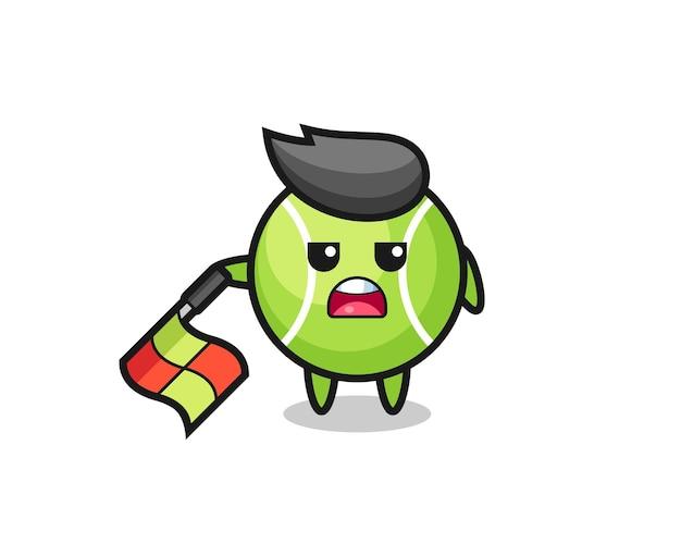 Il personaggio del tennis come giudice di linea tiene la bandiera abbassata con un angolo di 45 gradi, design in stile carino per t-shirt, adesivo, elemento logo