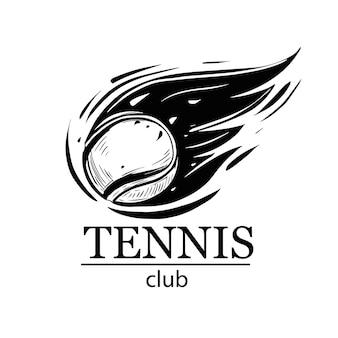Emblema di tennis. palla da tennis. tennis club, scuola di tennis, torneo. design del logo.
