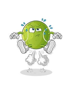 Illustrazione di salto di scoreggia di tennis. carattere