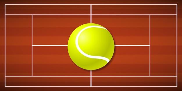 Campo da tennis con una grande palla da tennis