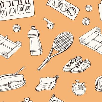 Reticolo senza giunte di doodle disegnato a mano di tennis