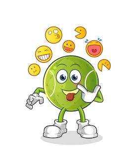 Risata di tennis e personaggio finto. mascotte dei cartoni animati