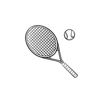 Icona di doodle di contorni disegnati a mano con racchetta da tennis e pallina da tennis. campo da tennis, attrezzatura, concetto di torneo sportivo