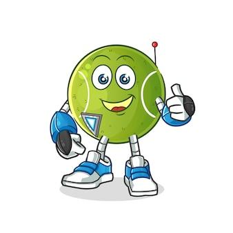 Carattere del robot da tennis. mascotte dei cartoni animati
