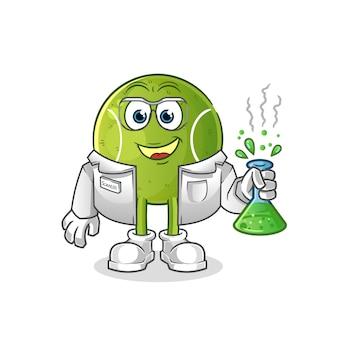 Carattere dello scienziato del tennis. mascotte dei cartoni animati