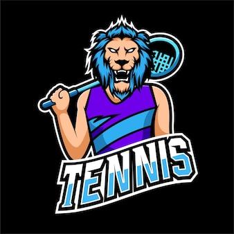 Logo della mascotte del gioco del tennis e dell'esportazione