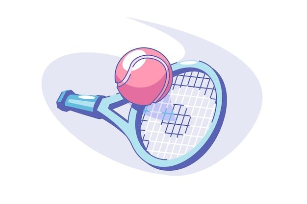 Tennis sport gioco illustrazione vettoriale palla e racchetta stile piatto attrezzature per competizione o torneo sportivo gioco e concetto di stile di vita attivo isolato