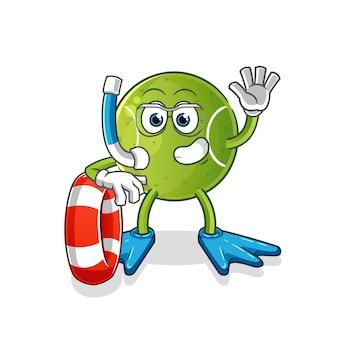 Nuotatore di tennis con la mascotte della boa. cartone animato
