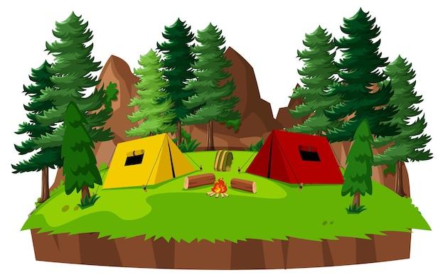 Campo in tenda nel parco