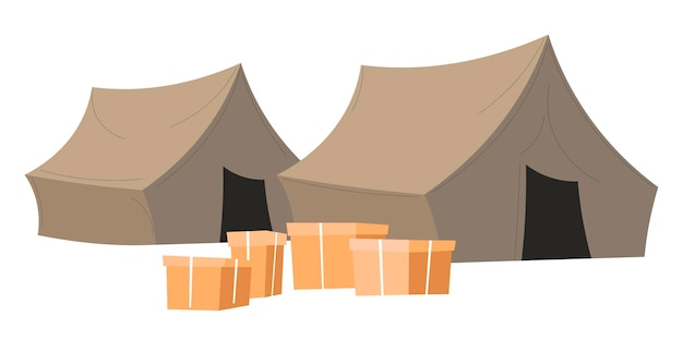 Tenda e scatole di cartone, campo isolato con aiuti umanitari per rifugiati o poveri. volontariato o organizzazione di aiuti contro la povertà. assistenza e supporto finanziario, vettore in stile piatto