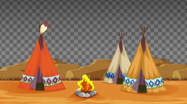 Tenda da campeggio e fuoco su trasparente
