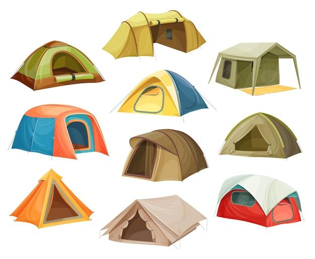 Icone del campo di tende, cupola del campeggio della casa, turismo di viaggio, piatto isometrico 3d isolato.