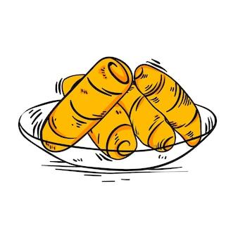 Illustrazione disegnata a mano di tequeños sul piatto