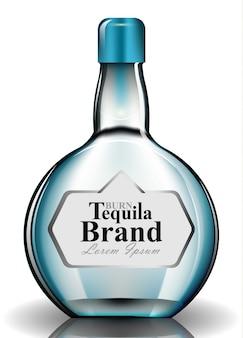 Bottiglia di vetro tequilla vector realistico. modelli di simulazione del packaging del prodotto