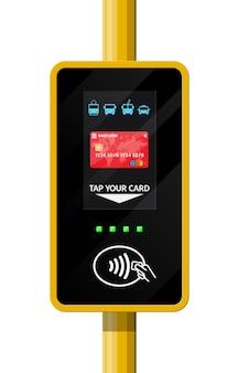 Terminal per carta di trasporto passeggeri. validatore terminal per aeroporto, metro, autobus, metropolitana pagamenti wireless, contactless o cashless, rfid nfc. in stile piatto