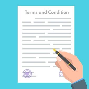 Concetto di termini e condizioni. documento cartaceo, contratto. illustrazione vettoriale in stile piatto