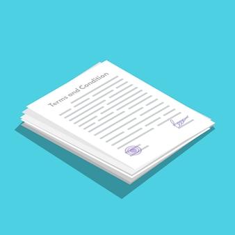 Icona icometrica di termini e condizioni. documento cartaceo, contratto. illustrazione vettoriale in stile piatto