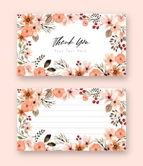 Biglietto di ringraziamento floreale dell'acquerello in terracotta