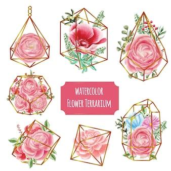 Terrario in oro con acquerello fiore rosa