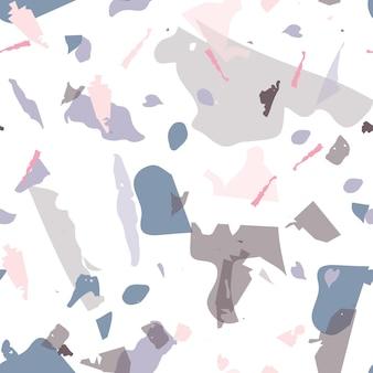 Reticolo senza giunte del terrazzo. struttura della pavimentazione classica moderna. fondo fatto di pietre naturali, granito, quarzo, marmo, cemento. modello senza cuciture terrazzo in colori freddi.
