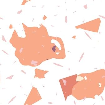 Reticolo senza giunte del terrazzo. trama di marmo realistico arancione con pietre. fondo fatto di pietre naturali, granito, quarzo, marmo, cemento. modello senza cuciture terrazzo in colori freddi.